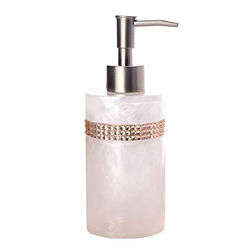Barock Pearl Seifenspender mit Edelstahl-Pumpe, 440 ml, nachfüllbare Handseife, ideal für Flüssigseifen, ätherische Öle und Lotionen Modern Größe beige