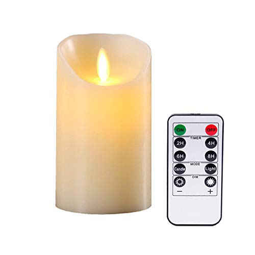 YIWER Led Candles,6' Flameless candles,Set of 1 Real Wax Not Plastic Pillars Include Realistic Dancing LED Flames and 10-key Remote Control with 2/4/6/8-hours Timer Function 200 hours (1x1, Ivory)