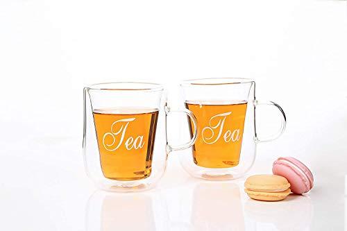 2er-Set Thermogläser Doppelwandig Teeglas mit Schriftzug TEA Tee Glas Gläser 2x260ml Kaffeegläser aus hochwertigem Borosilikat-Glas/Kaffee-Tasse Thermo-isoliert und mundgeblasen für ausgiebigen Kaffeegenuss/Moderne Cappuccino Trinkgläser Latte Macchiato Glaser Set