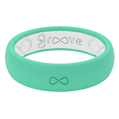 Lifetime Coverage Unique Design Groove Life Silicone Wedding Ring for Women Breathable Rubber Rings for Women Thin Solid Comfort Fit Womens Ring