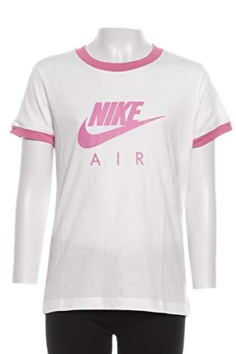 Nike NSW Air Logo Ringer Maglietta, Bianco (White/Magic Flamingo), M Unisex-Bambini