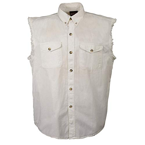 Milwaukee Performance DM4006 Men's White Lightweight Sleeveless Denim Shirt - Large
