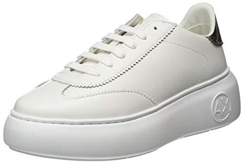 Armani Exchange Damen Sneaker, Weiß (White+LT Gold R579), 40 EU