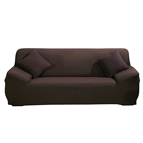 ParaCity Stretch Sofa Covers 3 Seater Fabric Slipcover Protector Couch Slipcover for 3 Cushion Couch (3 seater:185-230cm, Coffee)