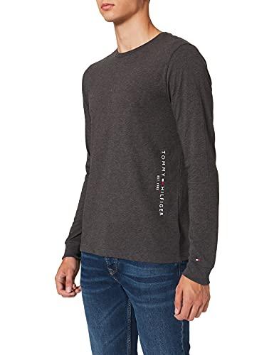 Tommy Hilfiger Hilfiger Logo Long Sleeve tee Camiseta, Gris Oscuro Heather, L para Hombre