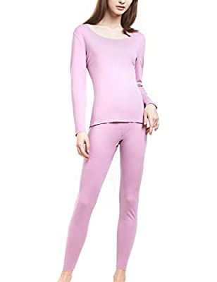 SANQIANG Women's Cotton Lace Crew Neck Thermal Underwear Set Lightweight Long Johns for Women (US Size L (Tag Reads 2XL), Seamless Pink)