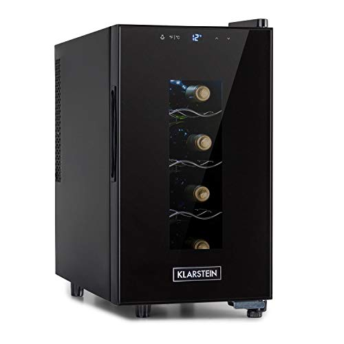 Klarstein Bellevin Uno Weinkühlschrank, Temperatur: 11-18 °C, Weinschrank Geräuscharm: 26 dB, 3 Metallregalebenen, LED-Beleuchtung, Weinkühler, Wine Fridge mit 23 Liter / 8 Flaschen, Schwarz
