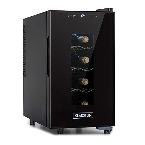 Klarstein Bellevin Uno nevera para vinos, temperatura: 11-18 °C, ruido: 26 dB, 3 baldas metálicas, luces LED, protección UV, nevera independiente para encimera, 23 litros / 8 botellas, negro