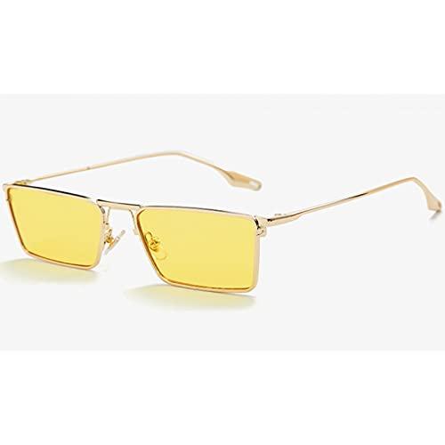 Tanxianlu Gafas de Sol con Montura Cuadrada Verde para Hombres, Montura Dorada, Lentes Transparentes, Gafas de Sol para Mujer, Montura metálica Completa Vintage, Verano Uv400,A