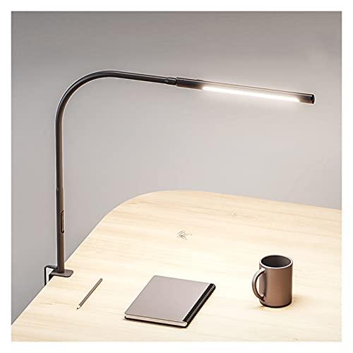 Lámpara Escritorio LED Lámpara de escritorio LED 12W con abrazadera 360 ° Lámpara de mesa giratoria flexible Dimmable Lámpara de oficina para el hogar, 4 modos de color con atenuación continua Lámpara