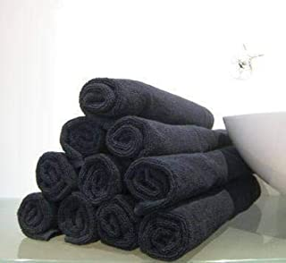 GREEN LIFESTYLE 24 Pack Salon Towels 16 x 27 for Salon, Gym, Spa, Esthetician, Super Absorbent - Cotton Facial Towel for Exercise, Bathroom, Monogram, Rally, Rags, (Black) Not Bleach Proof