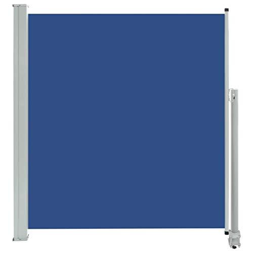 vidaXL Toldo Lateral Retráctil para Patio Pantalla de Terraza Mampara Parasol de Exterior Jardín Tela de Lona PU Azul con Soporte de Hierro 140x300 cm