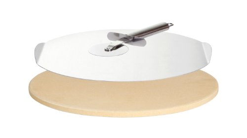 PaellaWorld 9813 Pierre de Cuisson pour Pizza Livré avec Une Roulette à Pizza et Un Plateau 33 cm