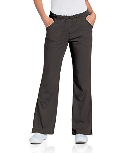 Urbane Women's Ultimate Soft Stretch Elastic Waist Flare Leg Scrub Pant, Black, Small