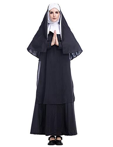 Damen Nonne Kostüm, Frauen Kostüm Nonne, Nonne Kostüm Halloween, Nonne Kostüm Mädchen (XXL)