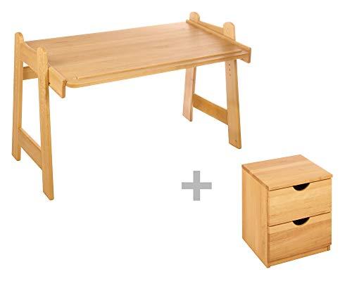 BioKinder 23850 Leon Spar-Set Kinderschreibtisch Schreibtisch für Kinder Höhenverstellbar mit Rollcontainer aus Massivholz Erle 128 x 76 x 50-75 cm