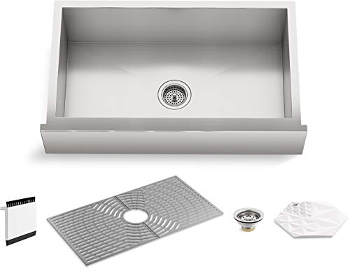 """Kohler K-20243-PC-NA STERLING Ludington 34"""" Under-Mount Single-Bowl Farmhouse Kitchen Sink with Accessories, Apron-Front Basin, Stainless Steel"""