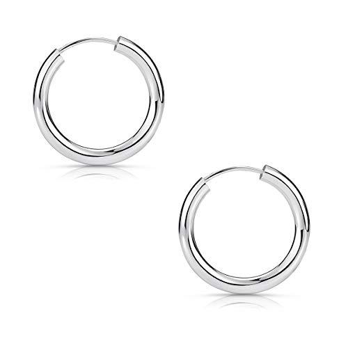 MATERIA Ohrringe Creolen Damen Herren klein - 925 Sterling Silber Piercing Ohr 15mm dünn für Frauen Männer SO-15