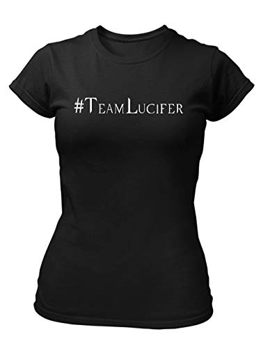 clothinx Hashtag Team Lucifer | Versüße Dir mit diesem Motiv Die Wartezeit Auf Die Nächste Staffel | Passend Zu Deiner Lieblings-Serie Damen T-Shirt Fit Schwarz Gr. M