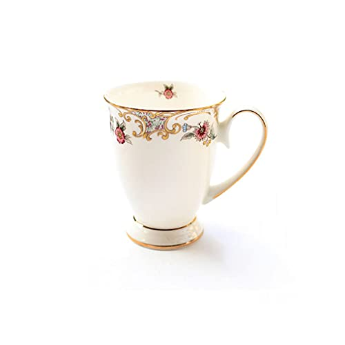 Tazas Taza De Café Taza De Cerámica, Estilo Pastoral Chino De La Taza De Té Estilo De Taza con Flores Y Platos para Lavavajillas Y Microondas Taza De...