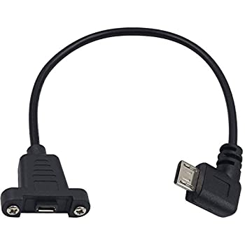 Poyiccot Micro USB Extension Cable 90 Degree Right Angle Micro USB Male to Micro USB Female Power Extension Panel Mount Type Cable with Screws for Data & Charge  Micro USB B 5Pin M/F