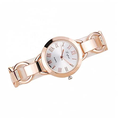 Reloj de Moda de aleación Simple de Mujer Reloj de Moda de Cuarzo analógico con Reloj de Pulsera de Brazalete de Acero Batería incorporada Blanco
