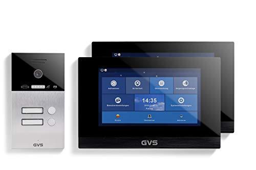 GVS AVS4068U - Videoportero de 4 cables/IP (IP65, con RFID, 2 monitores de 10 pulgadas, App, cámara HD de 120 °, apertura de puerta, 32 GB de memoria, conmutador PoE, 2 juegos de casa familiar)