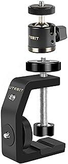 UTEBIT Morsetto a C per fotocamera, dimensione massima aperta 60 mm con mini testa a sfera girevole a 360 °, adatta per fo...
