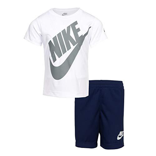 Nike Kids Boy's Dri-FIT Logo Graphic T-Shirt & Shorts Two-Piece Set (Little Kids) Dress Blues 7 Little Kids