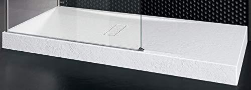 Piatto Doccia Novellini Custom Touch Dimensione 140x70 Altezza Spessore 12 cm Colore Bianco Morbido (Opaco) Appoggio Pavimento Effetto Pietra Acrilico Compreso Piletta Scarico e Copri Piletta