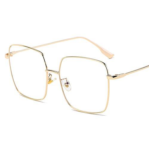 DQWGSS Metall Quadratische Brille, Anti-Blau-Brille, Computer-Augenschutz Arbeitsbrille, Spiegel, Mode Retro Reise Arbeit,Gold