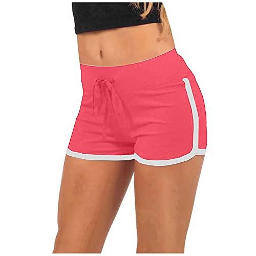 XOXSION Pantalones cortos de verano para mujer, ligeros, deportivos, con cinturón, para correr, yoga, para verano, elásticos, ligeros, color rojo, talla S