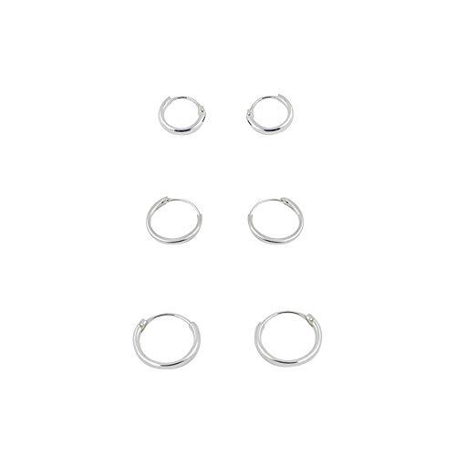 6 pendientes aros lisos pequeños y finos plata de ley 2 aros 8mm, 2 aros 10mm y 2 aros 12mm diámetro exterior