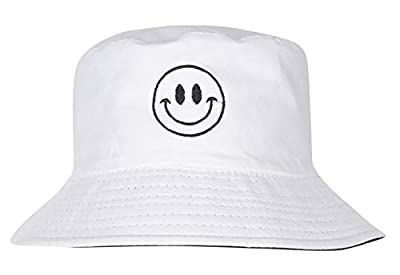 Zacharias Unisex Cotton Fishermen Bucket Hat Smiley (White; Free Size)