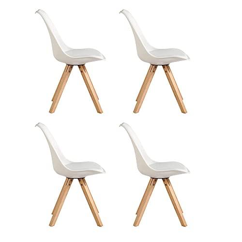 VERDELZ 4er Set Stuhl Esszimmerstühle Esszimmerstuhl 4 x Esszimmerstühle Stuhl Küchenstühle Massivholz Buche Bein, Retro Design Gepolsterter lStuhl Küchenstuhl Holz