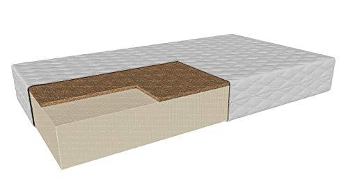 Latexmatratze mit Kokosnuss Grottaminarda MAX | Höhe: 20 cm Härte: H2/H3 mittelweich/mittelhart | Wende-Matratze | Abnehmbare antiallergische Abdeckung (90 x 200 cm)