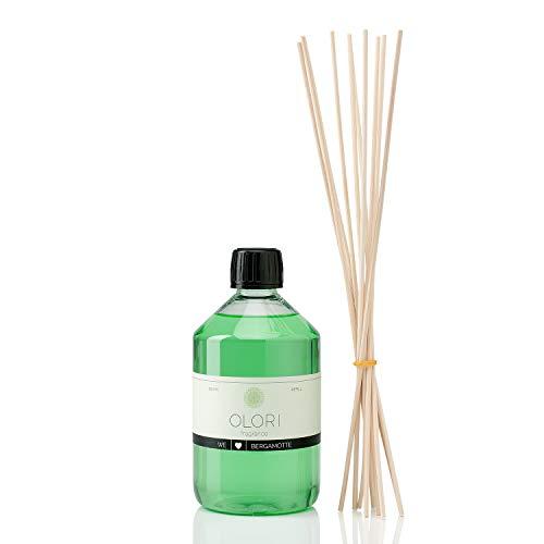 OLORI Refill Raumduft Nachfüllflasche - Bergamotte - 500 ml - inklusive 10 Stäbchen - verschiedene Düfte - frisch, fruchtig