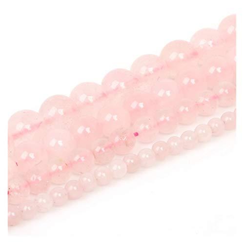 HETHYAN 4 cuentas de piedra natural mate de ojo de tigre de lava rojo y negro de 10 mm, cuentas sueltas para hacer joyas y collares de pulsera (color: cuarzo rosa, tamaño: 6 mm/62 unidades)