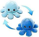 Pulpo Reversible con 2 Colores, Peluche de Pulpo Reversible, Juguete para Niños, Peluche de TikTok, Doble Cara, Octopus Reversible, Muñeco de Peluche Creativo, Sonriente y Triste