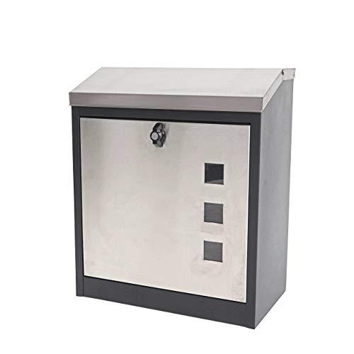 Mendler XXL Briefkasten HWC-H26, Firmenbriefkasten Postkasten, abschließbar pulverbeschichtet 52x44x25cm ~ schwarz-Edelstahl