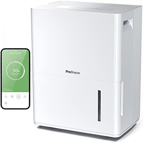 Pro Breeze Deumidificatore 30L Con App Gratuita e Connesso al Wifi. Con Pannello di Controllo Digitale, Drenaggio Continuo e Timer