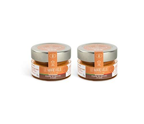 Pulpa de Erizo de Mar Le Mareviglie - 2 paquetes de 55g - Hecho a mano en Cerdeña, Italia - Caviar del Mediterráneo