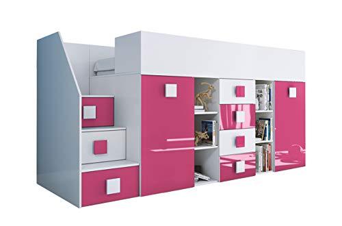 KRYSPOL Etagenbett für Kinder TOLEDO 3 Stockbett mit Treppe, Schreibtisch, Bettkasten (Weiß/Weiß Glanz + Rosa Glanz, Seite: links)