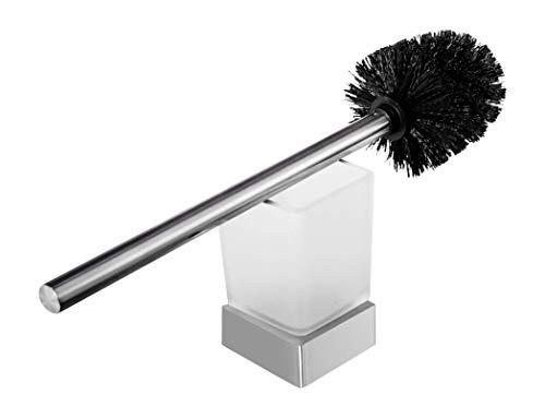 Ambrosya® | Exklusiver Toilettenbürstenhalter aus Edelstahl | Bad Badezimmer Bürste Glas Halter Klobürste Klobürstenhalter Toilette Toilettenbürste WC-Garnitur (Edelstahl (Gebürstet))