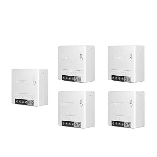 5pcs Sonoff mini-DIY-WiFi interruptores inteligentes bidireccionales, pequeños conductores, temporizadores, interruptores de luz, módulos de control remoto trabajando con Alexa.