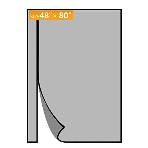 Yotache Reversible Left Right Side Opening Magnetic Screen Door Fits Door Size 48 x 80, Reinforced Sewing Insect Fly Mesh for Balcony, French, Sliding Glass Door