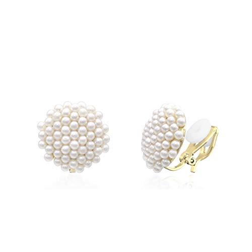 QUKE Simulated Pearl Golden Tone Big Clip On Studs Earrings Non Pierced Bridal Elegant Earrings Jewelry Gift for Women Girls