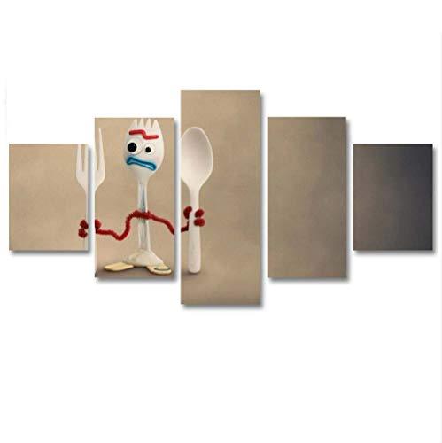 GSDFSD Cuadro en Lienzo 200x100 cm Impresión de 5 Piezas vajilla Material Tejido no Tejido Impresión Artística Imagen Gráfica Decoracion de Pared