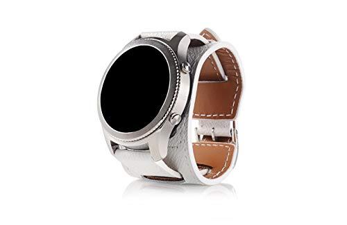Adecuado para Samsung S3 / S4 LTE46mm / Galaxy Watch versión Bluetooth 46mm / MOTO360 / Huawei Watch2 Correa, Tira de reemplazo de Cuero, Ancho de la Correa: 22mm Zhenzhiyangshangmao (Color : White)