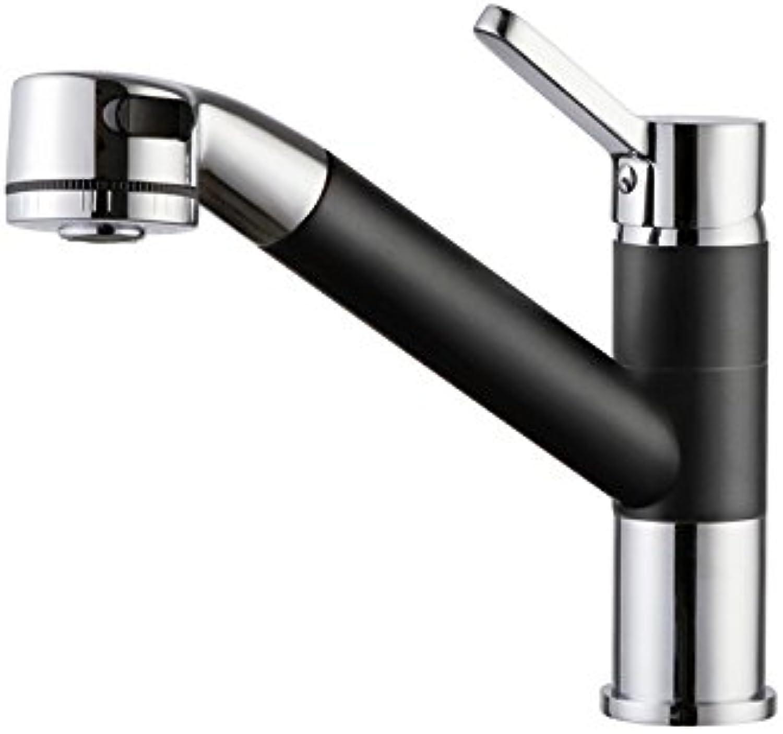 Bijjaladeva Wasserhahn Bad Wasserfall Mischbatterie Waschbecken Waschtisch Armatur für BadAlle Kupfer Pull-Down Küche Wasserhahn der Einzelnen Bohrung hei und Kalt zu Drehen.